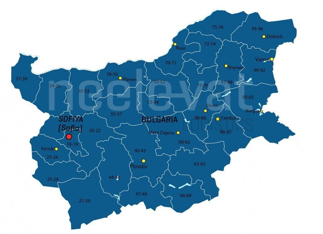 Postcodekaart Bulgarije