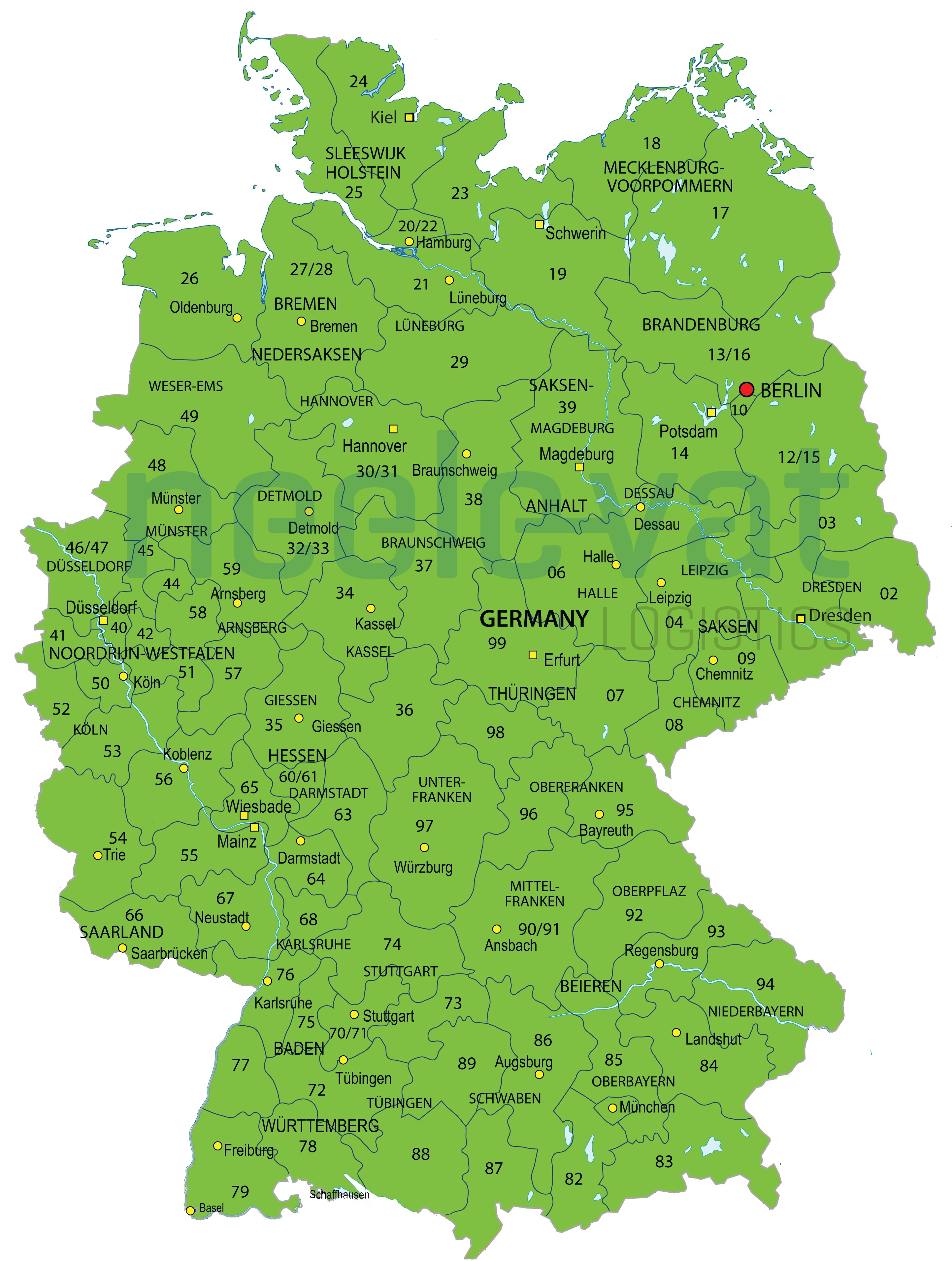 Postcodes Duitsland