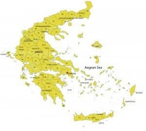 Postcodekaart Griekenland