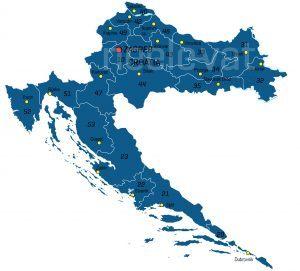 Postcodekaart Kroatië