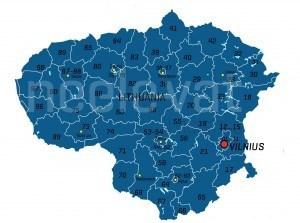 Postcodekaart Litouwen