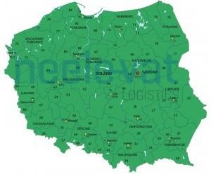Postcodekaart Transport Polen
