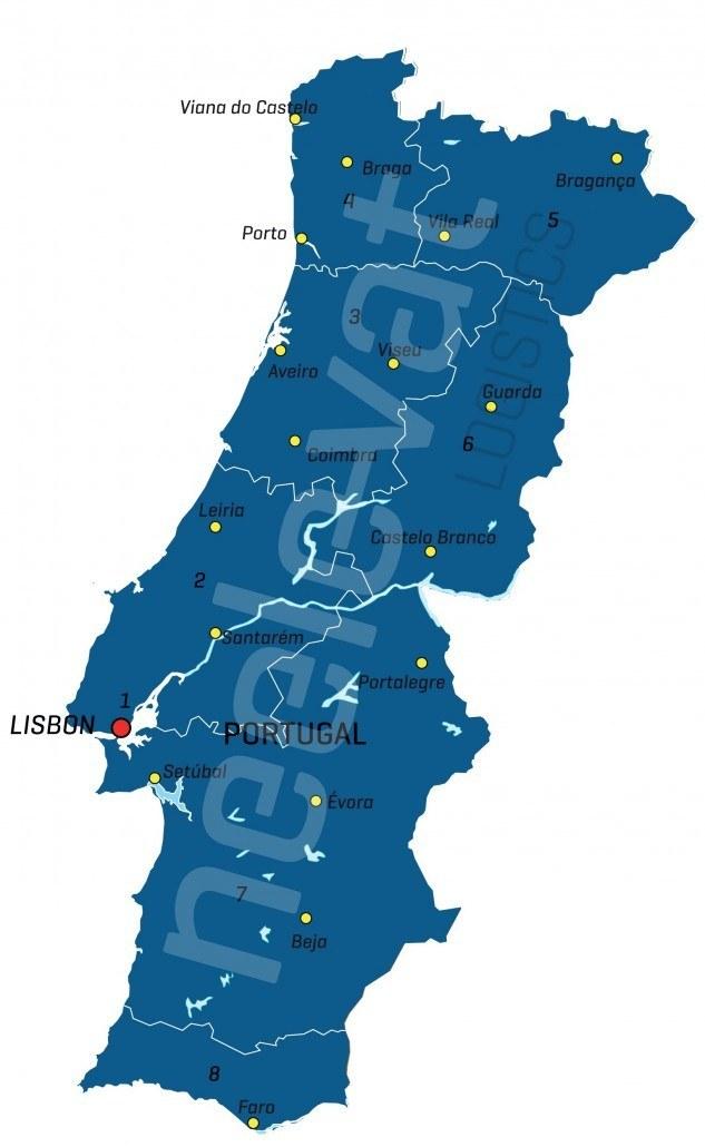 Postcodekaart Portugal