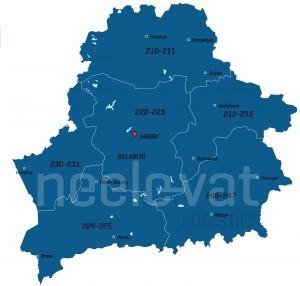 Postcodekaart Wit Rusland
